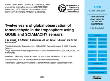 Twelve Years of Global Observation of Fo... by De Smedt, I.