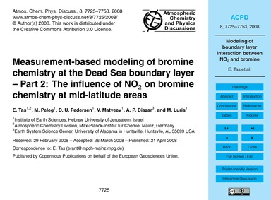 Measurement-based Modeling of Bromine Ch... by Tas, E.