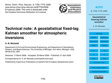 Technical Note: a Geostatistical Fixed-l... by Michalak, A. M.