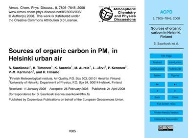 Sources of Organic Carbon in Pm1 in Hels... by Saarikoski, S.