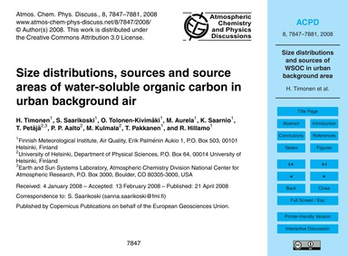 Size Distributions, Sources and Source A... by Timonen, H.