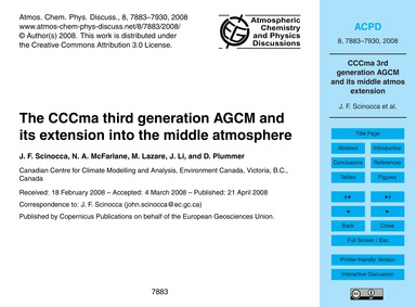 The Cccma Third Generation Agcm and Its ... by Scinocca, J. F.