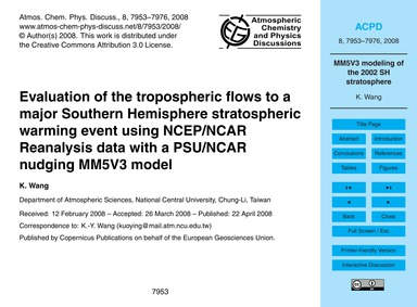 Evaluation of the Tropospheric Flows to ... by Wang, K.