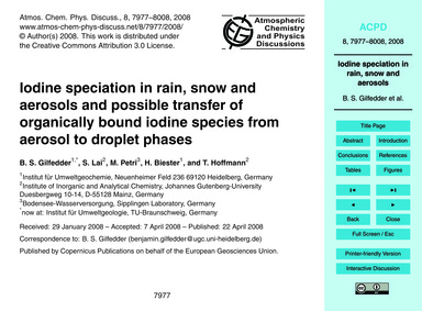 Iodine Speciation in Rain, Snow and Aero... by Gilfedder, B. S.