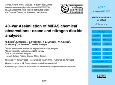4D-var Assimilation of Mipas Chemical Ob... by Errera, Q.