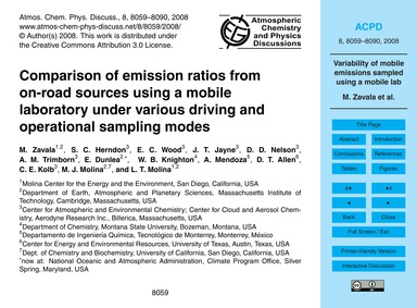 Comparison of Emission Ratios from On-ro... by Zavala, M.