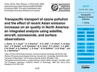 Transpacific Transport of Ozone Pollutio... by Zhang, L.