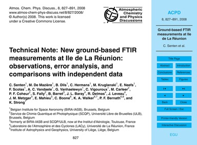Technical Note: New Ground-based Ftir Me... by Senten, C.