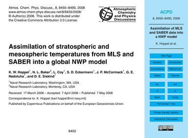 Assimilation of Stratospheric and Mesosp... by Hoppel, K. W.