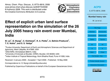 Effect of Explicit Urban Land Surface Re... by Lei, M.