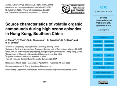 Source Characteristics of Volatile Organ... by Zhang, J.