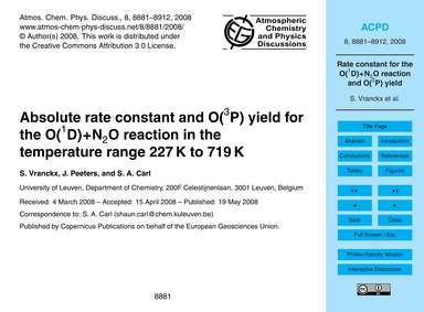 Absolute Rate Constant and O(3P) Yield f... by Vranckx, S.