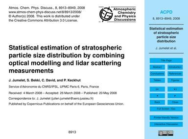 Statistical Estimation of Stratospheric ... by Jumelet, J.