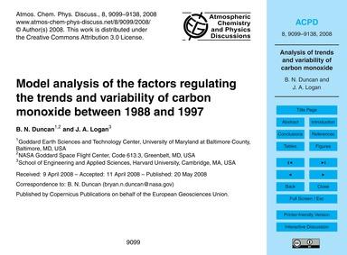 Model Analysis of the Factors Regulating... by Duncan, B. N.