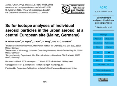 Sulfur Isotope Analyses of Individual Ae... by Winterholler, B.