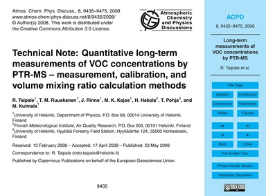 Technical Note: Quantitative Long-term M... by Taipale, R.