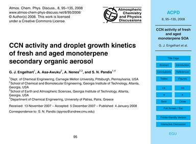 Ccn Activity and Droplet Growth Kinetics... by Engelhart, G. J.