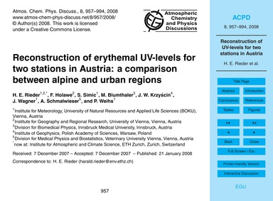 Reconstruction of Erythemal Uv-levels fo... by Rieder, H. E.