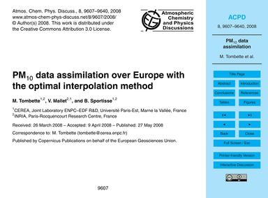 Pm10 Data Assimilation Over Europe with ... by Tombette, M.