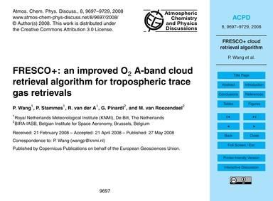 Fresco+: an Improved O2 A-band Cloud Ret... by Wang, P.