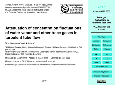 Attenuation of Concentration Fluctuation... by Massman, W. J.