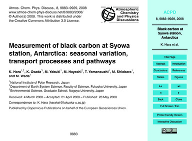 Measurement of Black Carbon at Syowa Sta... by Hara, K.