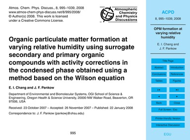 Organic Particulate Matter Formation at ... by Chang, E. I.