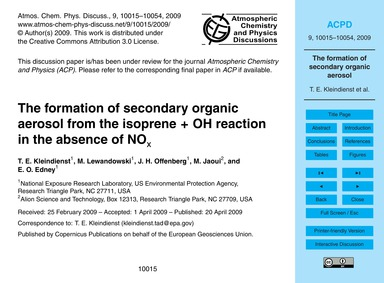 The Formation of Secondary Organic Aeros... by Kleindienst, T. E.