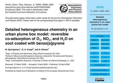 Detailed Heterogeneous Chemistry in an U... by Springmann, M.