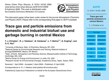 Trace Gas and Particle Emissions from Do... by Christian, T. J.