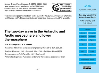The Two-day Wave in the Antarctic and Ar... by Tunbridge, V. M.