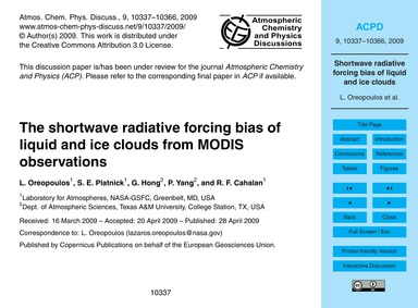 The Shortwave Radiative Forcing Bias of ... by Oreopoulos, L.