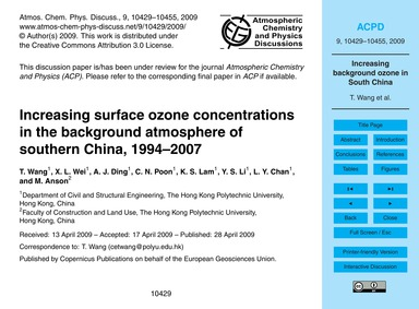 Increasing Surface Ozone Concentrations ... by Wang, T.