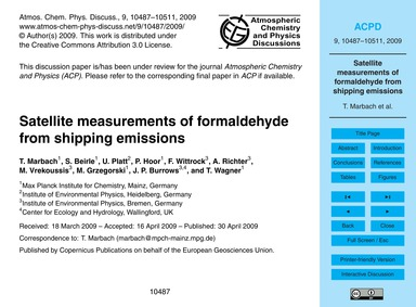 Satellite Measurements of Formaldehyde f... by Marbach, T.