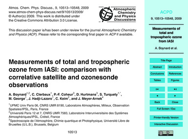 Measurements of Total and Tropospheric O... by Boynard, A.