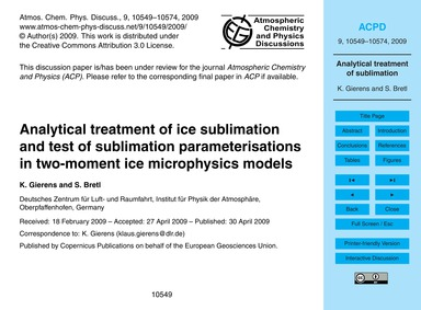 Analytical Treatment of Ice Sublimation ... by Gierens, K.