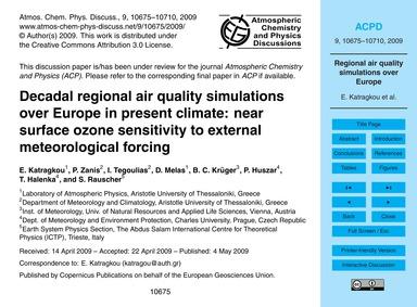 Decadal Regional Air Quality Simulations... by Katragkou, E.