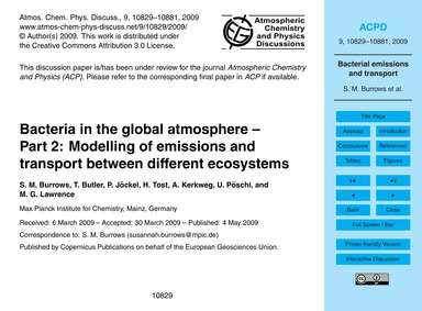 Bacteria in the Global Atmosphere – Part... by Burrows, S. M.