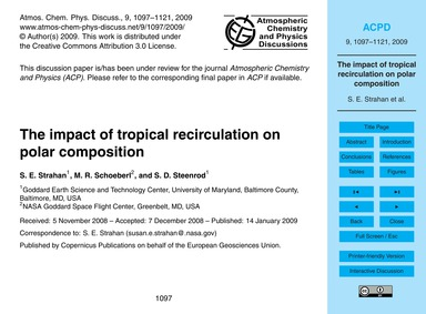 The Impact of Tropical Recirculation on ... by Strahan, S. E.