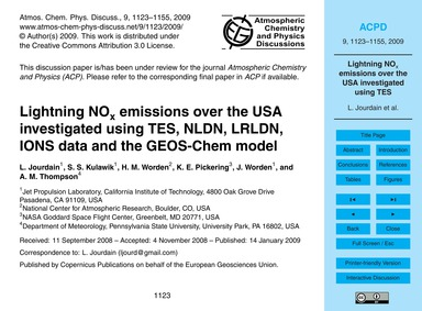 Lightning NoX Emissions Over the USA Inv... by Jourdain, L.