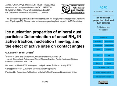 Ice Nucleation Properties of Mineral Dus... by Kulkarni, G.