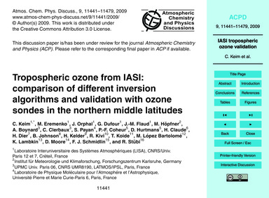 Tropospheric Ozone from Iasi: Comparison... by Keim, C.