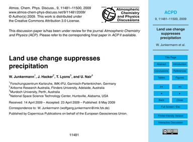 Land Use Change Suppresses Precipitation... by Junkermann, W.