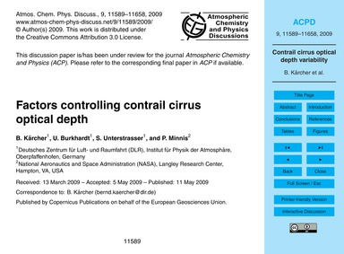 Factors Controlling Contrail Cirrus Opti... by Kärcher, B.