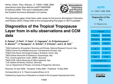 Diagnostics of the Tropical Tropopause L... by Palazzi, E.