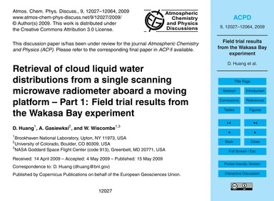 Retrieval of Cloud Liquid Water Distribu... by Huang, D.