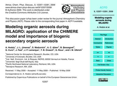 Modeling Organic Aerosols During Milagro... by Hodzic, A.