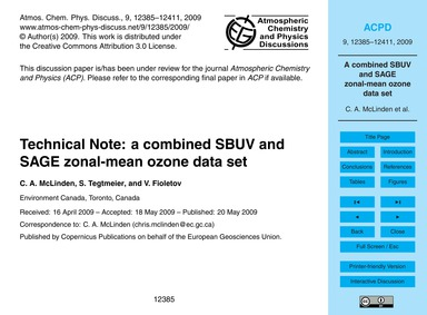 Technical Note: a Combined Sbuv and Sage... by McLinden, C. A.