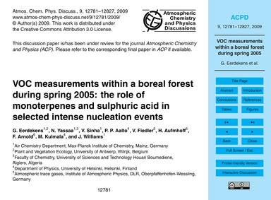 Voc Measurements Within a Boreal Forest ... by Eerdekens, G.