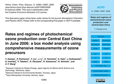 Rates and Regimes of Photochemical Ozone... by Kanaya, Y.